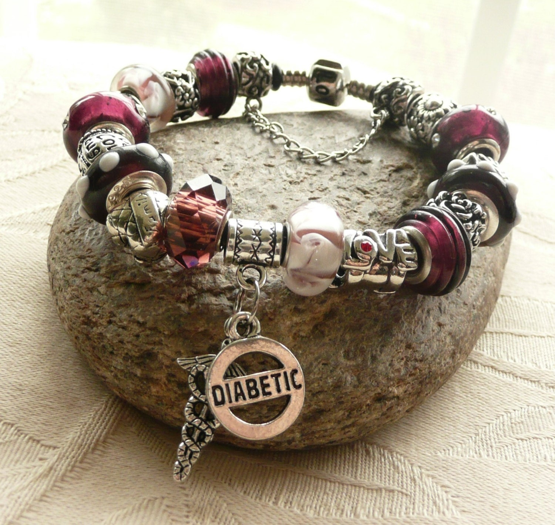 Diabetic Alert Charm Bracelet European Charm Bracelet