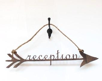 70% OFF!!! Wedding Reception Arrow Sign: dark brown rustic arrow