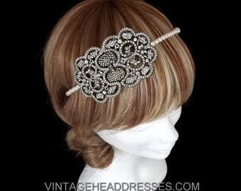 Vintage Headpiece - Art Deco Headband - Great Gatsby Headpiece - Vintage 1920's Art Deco Headband - Wedding Headpiece-  Bridal - Event
