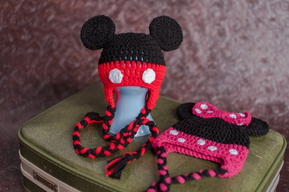 Free Minnie Mouse Crochet Hat Pattern With Ear Flaps : Crochet Minnie Mouse Hat & Mickey Mouse Hat Beanie with Ear