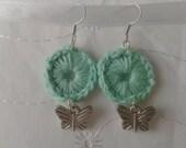 Crochet mint green butterfly charm dangle earrings