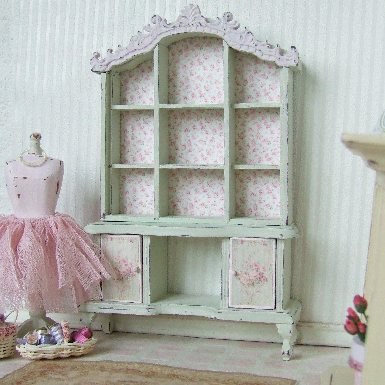 Dollhouse Miniature Pink And Green Dresser Hutch Cabinet