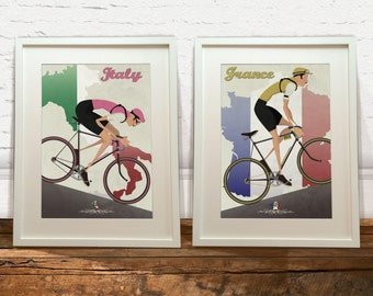 Tour De France and Giro D'Italia Vintage Style Art Print