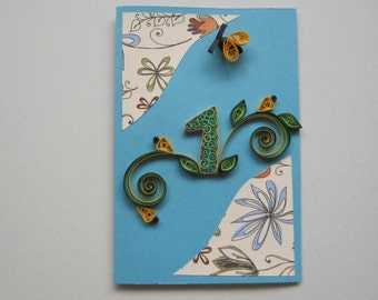 Boy's 1st Birthday Card - Paper Handmade Greeting Card -Quilling Number, Bee, Flowers - Blue, Yellow, Green