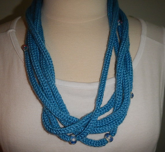 blue beaded necklace infinity scarf cowl knitted necklace