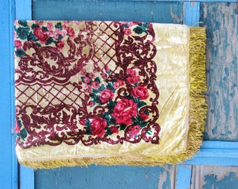 Vintage Plush Velvet  Yellow Tablecloth or Bedspread   with Fringed Edging for making aged teddy bears  - Made in USSR