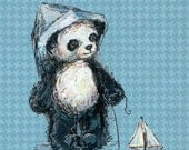 Panda and Sailboat, Panda Nursery Art: Art print with Poetry - JennyDaleDesigns