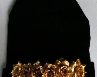 Dripping In Gold Flower Beanie