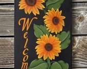 Sunflower Welcome Sign - Hand Painted - Personalized Upon Request