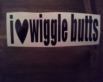 "8""x3"" I love Wiggle Butts Dog/Pet Vinyl Vehicle Decal"