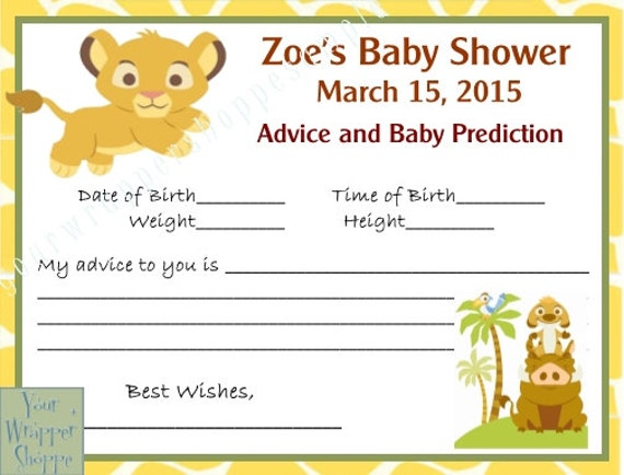 Lion King Baby Shower Prediction Advice Cards DIGITAL FILE