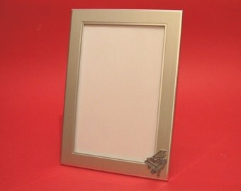 """Grand Piano Design Picture Frame 6"""" x 4"""" With Hand Cast Pewter Motif Piano Teacher Gift Musician Music Gift"""