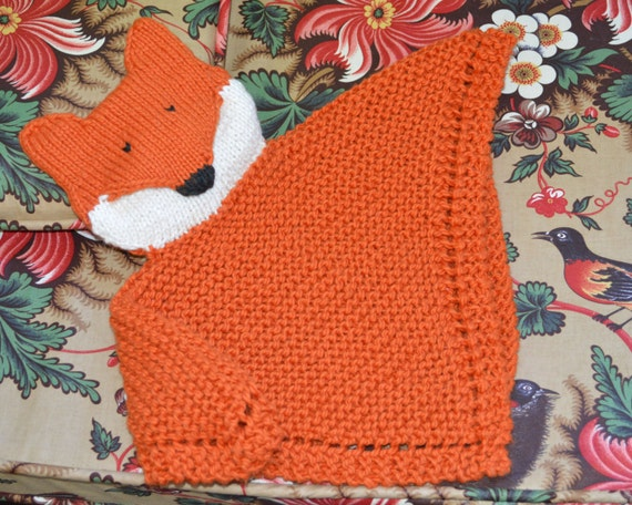 Knitting Pattern For Security Blanket : PDF Knitting Pattern Fox Security blanket lovey kp1014