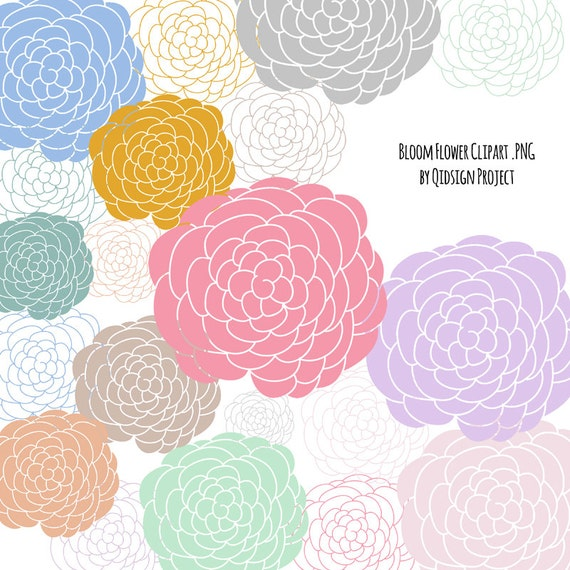 Items Similar To Hand Drawn Flower Bloom Clipart Dahlia Peony For Scrapbooking Invitation Commercial Use On Etsy