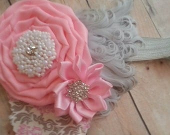 Pink and Grey feather headband newborn to adults