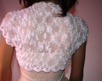 Wedding  Crochet  Knit Bolero Shrug   White