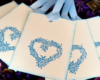 Vintage Inspired Elegant Heart Wreath Wedding Wish Tree Tags Set Of 40