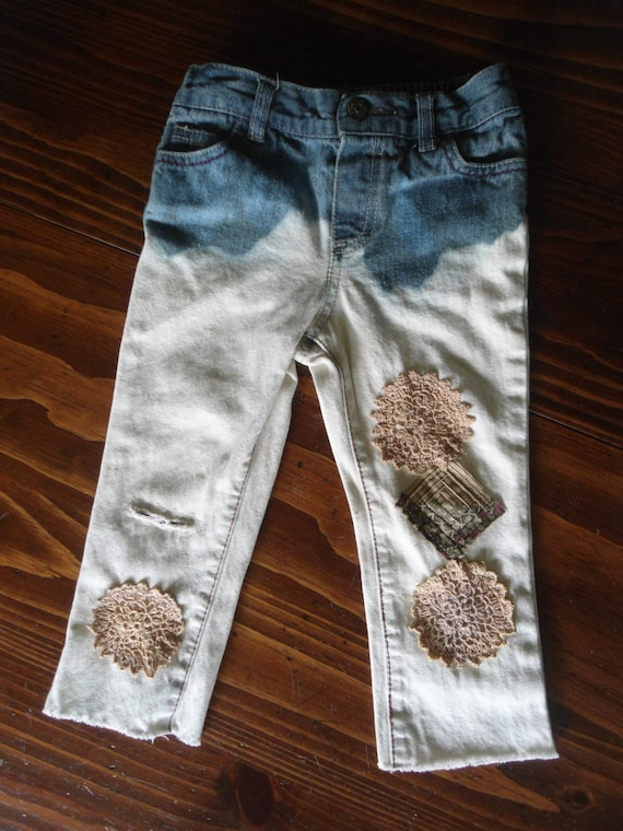 Childrens 24 Month Toddler Girls Upcycled Bleached Patched
