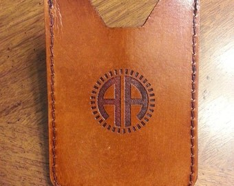 Leather monogram personalized money clip wallet with 2 initials, men wallet, leather wallet, travel, brown money holder