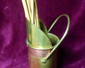 Vintage Fireside Matchstick Holder Brass Copper