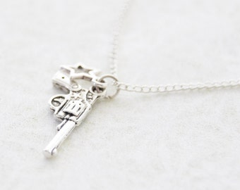 Shooting Star Necklace * Oxidized Silver Gun and Star Charm Necklace * Wild West Cowgirl Necklace * Silver-plated Handmade Handgun Necklace