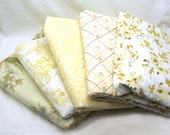 SALE - Vintage Sheet Remnants, Scrap Pack, Crafting Fabric - Assorted Neutrals