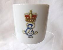 Edward VII 7 1902 Coronation Lithophane Mug, British Royal Family, Edwardian Porcelain Cup Royal Commemorative Souvenir, King of UK