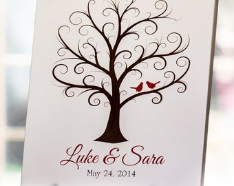 Wedding Guest Fingerprint Tree - 50 Guests - Wedding Thumbprint Tree - Guestbook - Wedding Guest Book - Wedding Tree - CB - 8x10