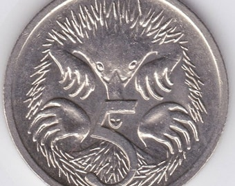 Australia 5 cents - Spiny Anteater - Echidna - uncirculated - Australian coin - collectible coin - numismatist