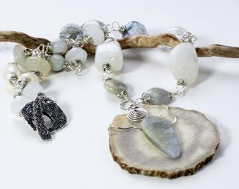 chunky stone necklace with antler, white moonstone quartz crystal necklace, wire wrapped pendant, earthy boho necklace, boho wedding,