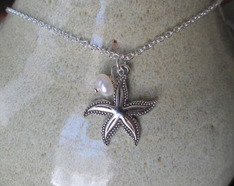 Sterling Silver Starfish and Freshwater Pearl Necklace by The Darling Duck