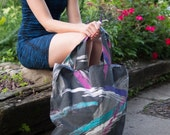 Upcycled Reusable Shopping bag - Grocery - Farmers Market Tote- 80's Print