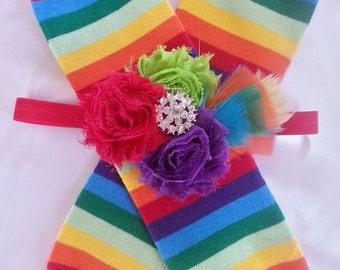 Rainbow Leg Warmer Set/Sports Leg Warmer/Baby/Infant/Girl/Accessory/Leggings/Leg/Leg Warmer/Rainbow/Photo Prop/Headband/Fascinator/Birthday