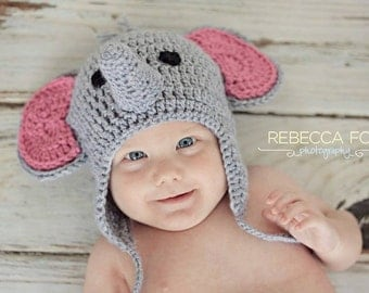 Crochet Elephant beanie with earflaps and braids. Photo Prop. Halloween costume. Elephant hat. Handmade to order.