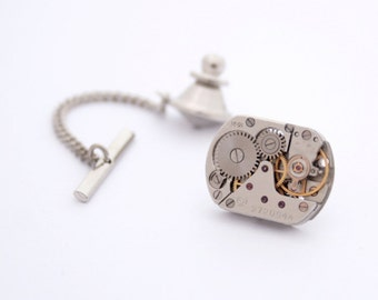 Steampunk Tie Tack with Chain Mens Silver Tie Pin Watch Movement Wedding Mens Accessories Metal Tie Tack Clutch and Chain