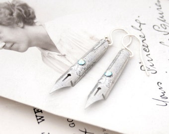 Pen nib Earrings Silver Whimsical Handwriting Fountain Pen Earrings Gift for Blogger Cottage chic jewelry Romantic earrings, Writers Gifts