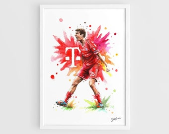 Thomas Muller (Bayern Munich) - A3 Wall Art Print Poster of the Original Watercolor Painting Football Posters Soccer Posters