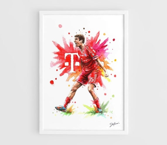 thomas muller bayern munich a3 wall art print poster of. Black Bedroom Furniture Sets. Home Design Ideas