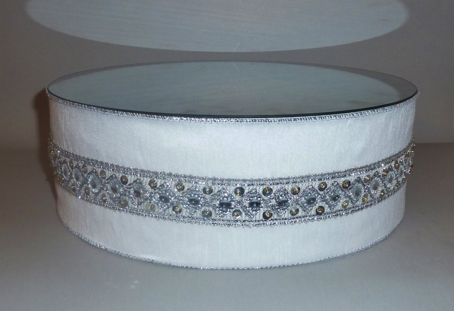 white satin silver bead wedding cake stand by