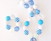 Elsa Frozen Chunky Gumball Necklace and Bracelet for Girls
