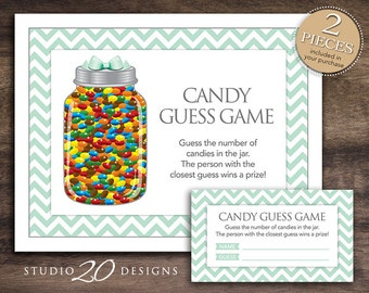 instant download mint green candy guessing game blue green mint baby shower candy guess game. Black Bedroom Furniture Sets. Home Design Ideas
