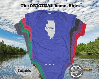 Illinois home Baby Bodysuit purple green pink denim blue green
