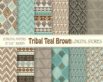 """Tribal Digital Paper: """"TRIBAL TEAL BROWN"""" with tribal patterns, in brown, beige, teal, for scrapbooking, invites, cards"""