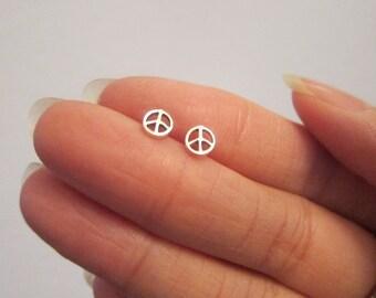 Tiny Sterling Silver Peace Sign Stud Earrings, Peace Jewelry, Dainty Earrings.