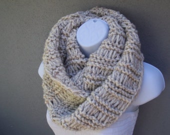 Infinity scarf in wheat color with flakes of brown and black color or SELECT COLOR, soft and warm