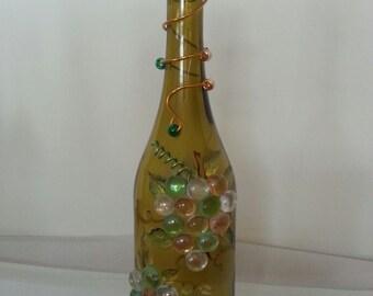 Wine Bottle Lamp, Glass Bottle Lamp, Upcycled Wine Bottle Lamp