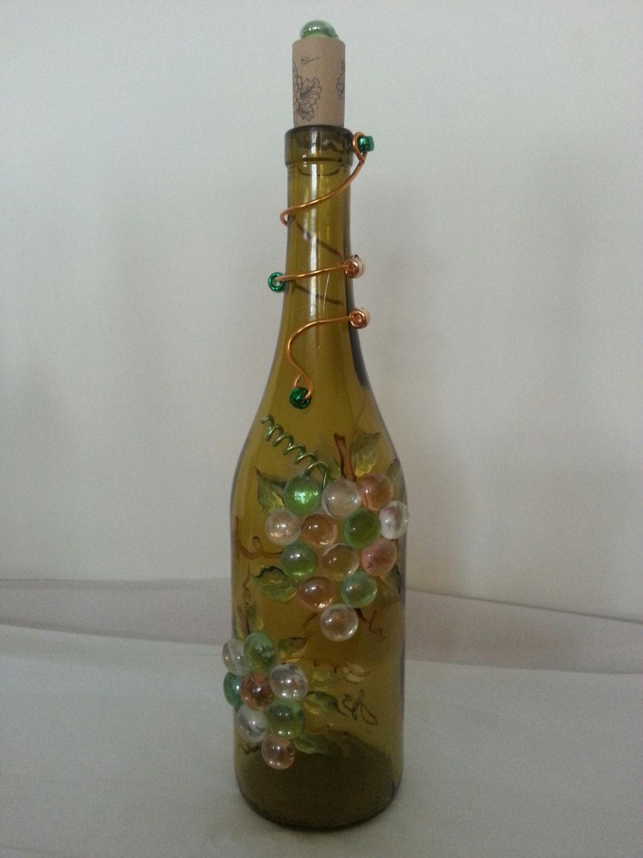 Wine bottle lamp glass bottle lamp upcycled wine bottle lamp for Champagne bottle lamp