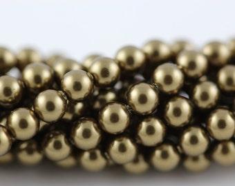 Antique Brass,4mm Swarovski Crystal Pearl,(5810) pkg of 25