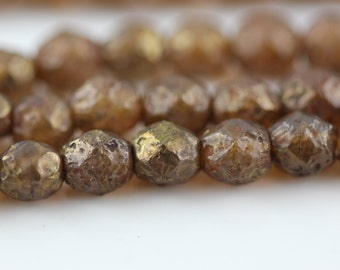 25 Stone Copper Picasso-Opal Rose Topaz- 6mm Faceted Round Czech Glass Fire Polished Beads FP-6M-7