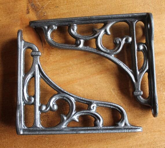 Black Cast Iron Shelf Brackets 2 x Small Cast Iron Brackets